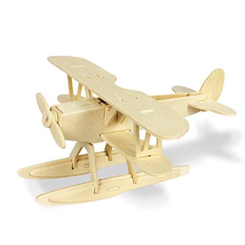 atz Holzpuzzle Kinder Modellbau Holz Bausatz zum Zusammenstecken Pädagogisches Spielzeug Geschenk (Flugzeug) ()