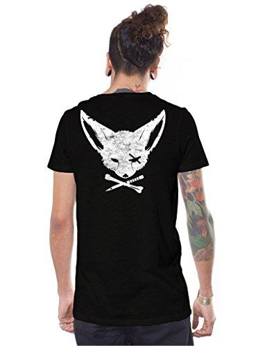 Herren T-Shirt mit Druck Gekreuzter Knochen und Dolch Fuchs Piraten Schwarz Urban Skatertop Small -