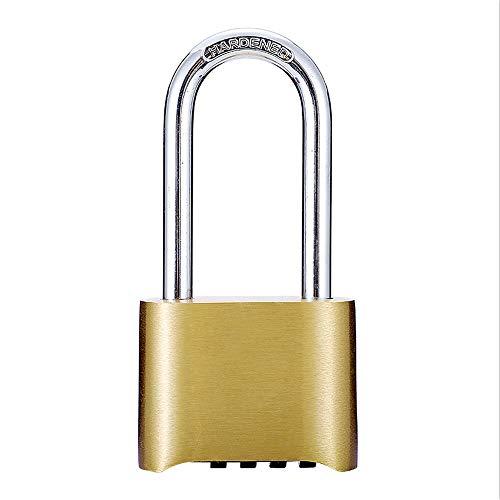 4-stelliges Passwort-Vorhängeschloss, schwere Ausführung, Fitnessstudio, Schließfächer, gehärteter Edelstahl, wetterfest, diebstahlsicher, schnittfest, 2-1/4-Zoll-Schäkel, Messingoberfläche,