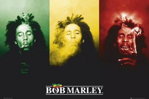 1art1 41131 - Poster Bob Marley su sfondo bandiera, 91 x 61 cm