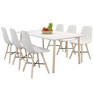 vidaXL Set de 6 chaises salle à manger avec pieds en bois Blanc