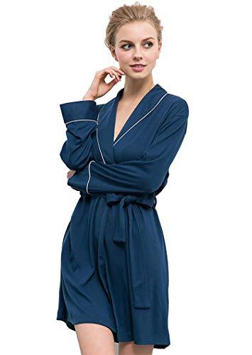 Soft Knit Langarm (Bademäntel Womens Soft Knit Nachtwäsche Kimono Kragen Long Lounge Wear Langarm Nachtwäsche, Für All Seasons Spa Hotel Pool Nachtwäsche S-XL,L)