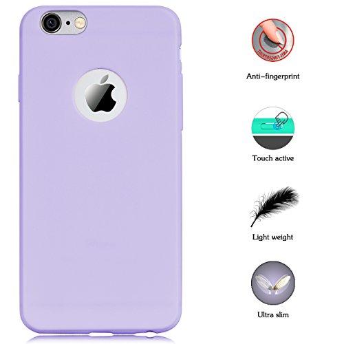 Coque iPhone 6 / iPhone 6S, Yokata Solide Mat Anti-Fingerprint Case Housse Étui Soft Doux TPU Silicone Flexible Backcover Ultra Mince Coque - Bleu marine Pourpre