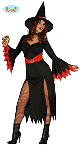 langes sexy Hexen Kleid Karneval Halloween Kostüm Damen schwarz rot Gr. M - L, Größe:L (Rot Und Schwarz Kleid Kostüm)
