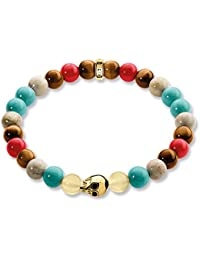 Thomas Sabo Femmes Hommes-Bracelet Rebel at Heart Argent Sterling 925 plaqué or jaune 18 carats rouge turquoise marron Longeur 19 cm A1513-882-7-L19