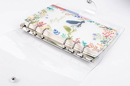 maxleaf transparent weich PVC-Abdeckung-6Ring Binder nachfüllbar Tagebuch/Dairy/Tag Planer/Personal Organizer Notebook A6Größe, 90Blatt