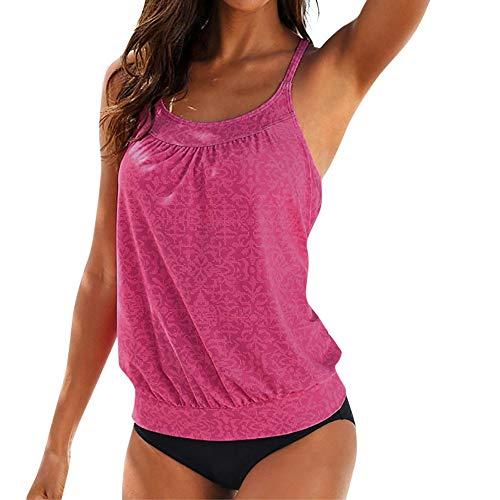 IZHH Damen Tankini Sets, Plus Size Printed Tankini Bikini Bademode Badeanzug Badeanzug Split Badeanzug Bademode Badeanzug Damen Bandeau Bikini Micro Bikini(Hot Pink,L)
