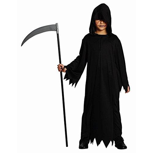 Schwarze Kutte Halloween Gewand Kinder 152 cm 10-12 Jahre Sensenmann Kostüm Geist Mittelalter Mönchskutte Henker Umhang Gevatter Tod Grim Reaper Robe Karneval Kostüme