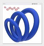 3 piezas anillos médicos de silicona para el tratamiento de la eyaculación precoz masculina (azul)