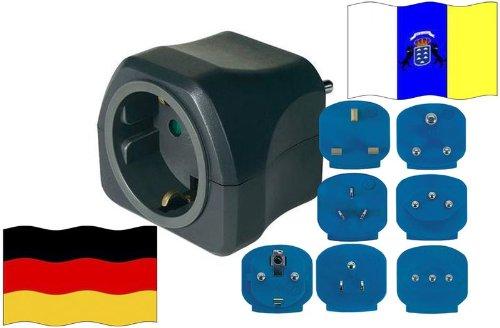 Preisvergleich Produktbild Reise-Adapter Kanaren auf Deutschland IC - GER Travel Plug KANAREN-Reise (Schutzkontakt)