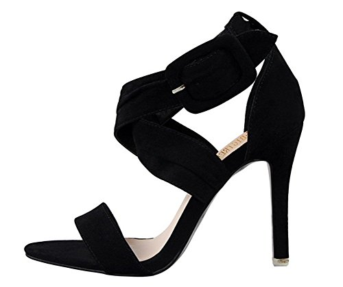 Wealsex Damen Sandalen Sommer Stiletto high heel Schwarz
