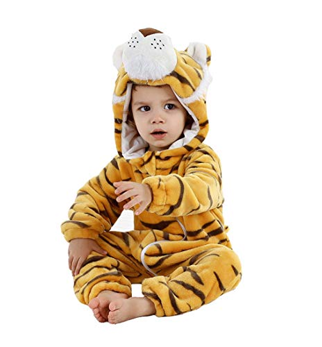 Fancyland Kinder Jumpsuits Kostüm Tier Overall-Onesie Pyjama Schlafanzug-Kapuzenpullover Nachtwäsche Onesie - Kind Tiger Pyjama Kostüm