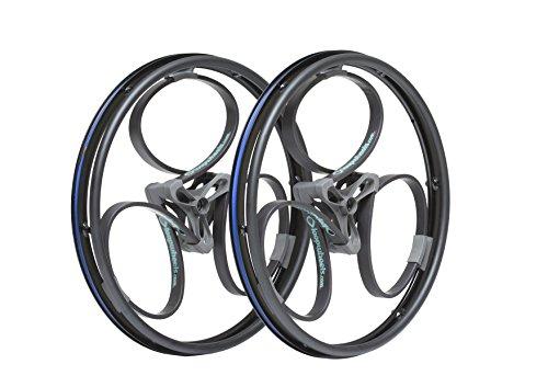 "Loopwheels 24"" Diameter 11mm Wide Offset Shock-Absorbing Wheelchair Wheels (x2), Black Loops/Teal Logos (Eligible for VAT relief in the UK)"