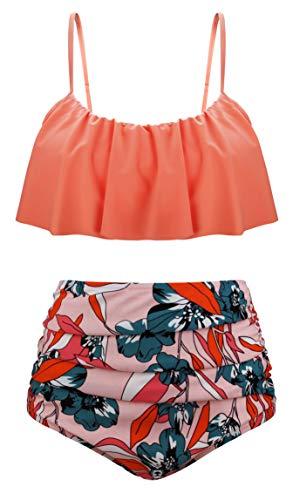 Angerella Damen Ruffles Strap Badeanzug Crop Top Flounce Bikini Set (Frauen Bademode Tops)