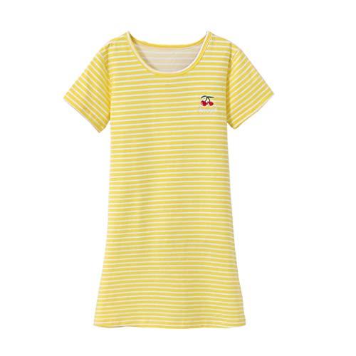 JERFER Kinder Mädchen Kleid Kurzarm Gestreift Kirsche Drucken Pyjama Nachtwäsche Nachthemd