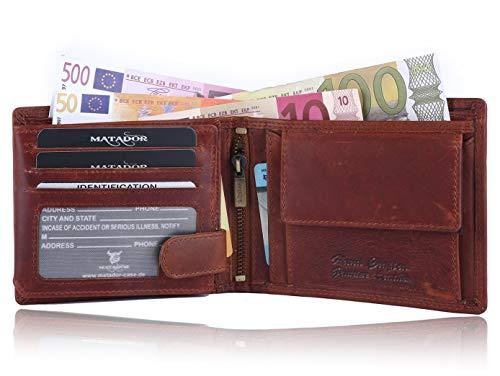 MATADOR Geldbörse Herren Echt Leder Geldbeutel für Männer 12 x 10 x 2.5 cm Portemonnaie RFID Blocker inkl Geschenkverpackung Vintage Braun
