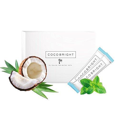 Weisse Zähne dank COCOBRIGHT | 14 Tage Oil Pulling Kokosnuss Öl Detox Kur | Pfefferminz Geschmack | Gesunde Mundhygiene & Natürliches Bleaching für Zähne (Natürlichen Minze-mundwasser)