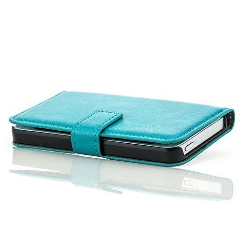 Saxonia Tasche Apple iPhone SE / 5 / 5S Hülle Flip Case Schutzhülle Handytasche mit Kartenfach Pink Blau