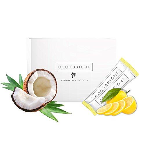 Zahnaufhellung mit COCOBRIGHT Zitronen | Oil Pulling Kokosöl Detox Set | Gesundes Bleaching für weisse Zähne | Natürliche Alternative zu White Stripes