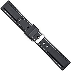 "Uhrbanddealer 20mm Ersatzband Uhrenarmband Silikon Band "" Silikon Trend II "" Schwarz - Weiss Wasserfest Schließe massiv"