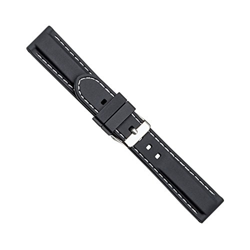 Uhrbanddealer Damen und Herren Uhrenarmband Silikon-Trend II 22mm Schwarz Naht Weiß 4014722