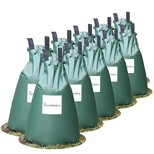 Baumbad | 10 Baumbeutel Bewässerungsbeutel für Bäume zur langzeit Bewässerungssystem | Robuster 75 Liter Wassersack/Bewässerungssack, aus UV beständigem PVC, Planzunterstützung für heiße Sommer
