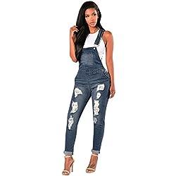 Pantalon Combinaison Denim Pantalons Bodysuit Salopettes Loose Slim avec Bleu Dames Romper Long Hiver été Les Skinny Short Automne Manteau fit Jambe Combishort Longue Chic