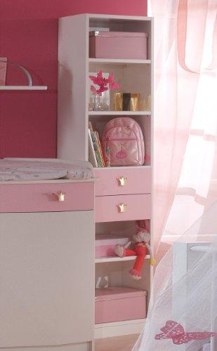 Regal Sissi, Standregal mit 2 Schubkästen, weiß/rosa