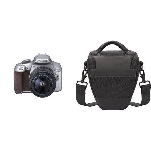 Canon EOS 1300D - Cámaras réflex de 18 MP, gris metalizado - kit con cuerpo y objetivo EF 18-55 + Canon HL 100 - Bolsa riñonera para cámara, color negro