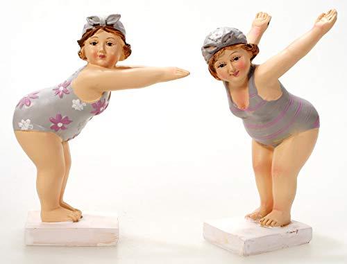 2X Schwimmerin startend 11 cm im Grauen Badeanzug Mädchen Rubensfrau mollige Dame Dicke Frau Badezimmer Figur Badenixe Baden Strand Pool
