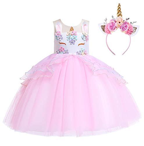 Romance Zone Disfraz de Unicornio Faldas de Tul Vestido de Fiesta Princesa para Cosplay Boda Carnaval Bautizo Cumpleaños Comunión Actuación con Diadema Unicornio