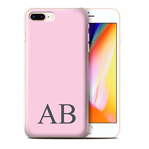 Personalisiert Pastell Monogramm Hülle für Apple iPhone 8 Plus / Blaues Design / Initiale/Name/Text Schutzhülle/Case/Etui Rosa