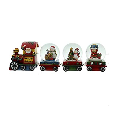 Santa & Friends Snow Globe Express Christmas Hand Painted Ornament