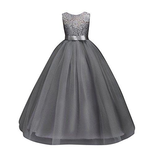 henkleid Kinder Tüll Prinzessin Kleid Weihnachten Ärmellos mit Hochzeit Kleid Blumen Tüll Bogen Kleid Lonshell (10T, Grau) (Tüll-shop)