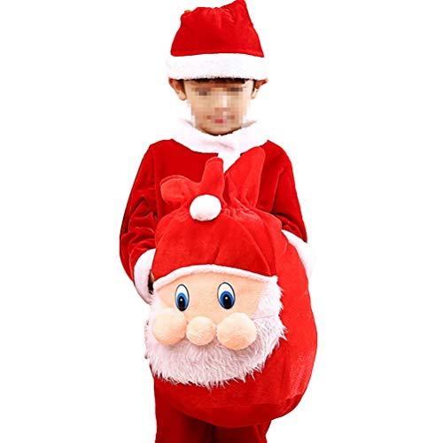 Fenical Santa Kostüm Chrismas Party Verkleidet Kleidung für Jungen verdicken Flanell Sets mit Tasche -120cm (Flanell Santa Kostüm)
