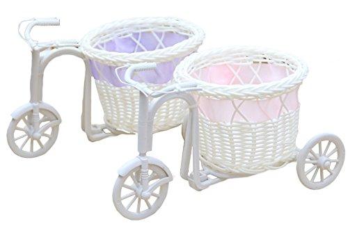 outflower ratán jardín nostálgico bicicleta flor artificial decoración planta soporte Mini maceta (blanco)