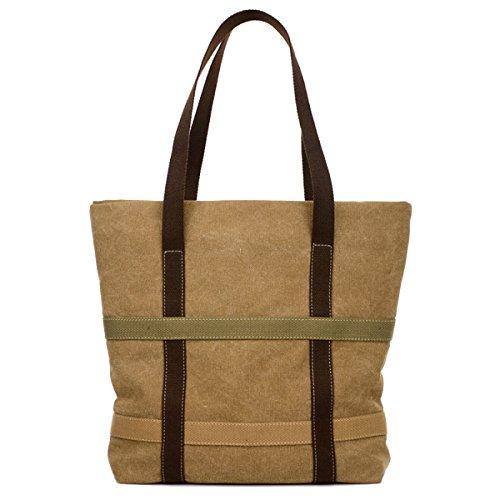 Leinwand Damen Wearable Atmungsaktiv Mit Großer Kapazität Freizeit Lässig Taschen Handtasche Brown