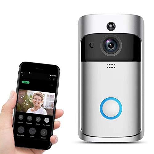 Dieron WiFi Intelligente Video-Türklingel 720P HD Funkfernbedienung Home Security Türklingel, Zwei-Wege-Gespräch, 166 ° Weitwinkelobjektiv, Bewegungserkennung und Nachtsicht - Intelligentes Video