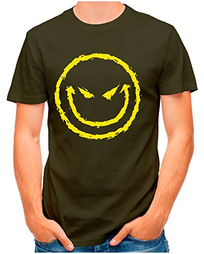 OM3® - Big-Bad-Smiley - T-Shirt | Herren | Evil Smilie Halloween Böser Clown | Oliv, L