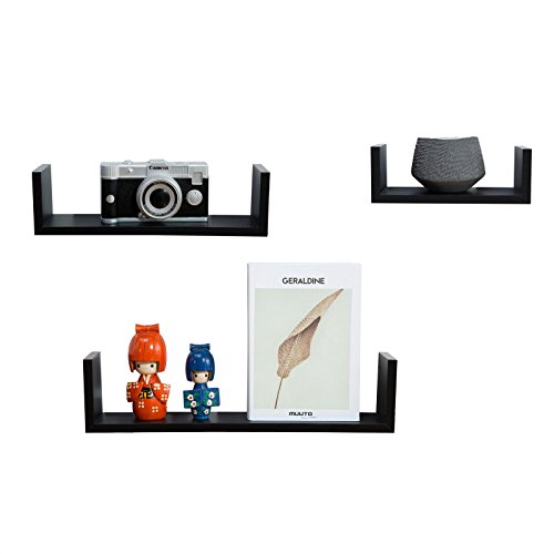 IDIMEX Wandregalset U-Form 3er Set Hängeregal Cairns Bücherregal CD Regal Wandboard Dekoregal aus MDF, schwarz foliert