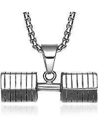 Jewelrysays Hip Hop - Collar de Acero Inoxidable con Colgante de Mancuernas