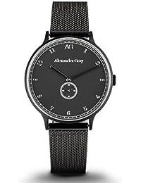 Alexander gris reloj Edimburgo–negro y mate reloj de pulsera con luz, delicado caso ultrafino de malla correa y–Coolness combinado con Simple Elegance