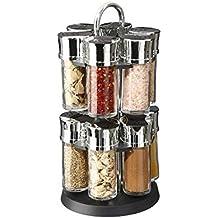 Présentoir Carroussel à épices et herbes aromatiques sur support rotatif et  12 pots en verre avec 0f8cb89c9227