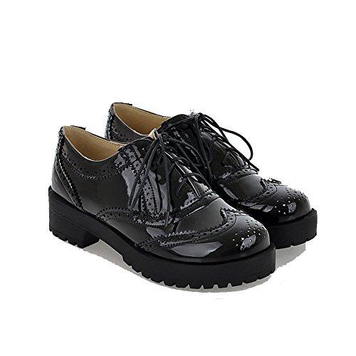 Gemischte Schwarz Farbe Absatz Allhqfashion Zehe Rund Niedriger Pumps Schnüren Damen Schuhe 4wvaqF5
