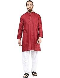Vivids India Men's Maroon Long Kurta - G181