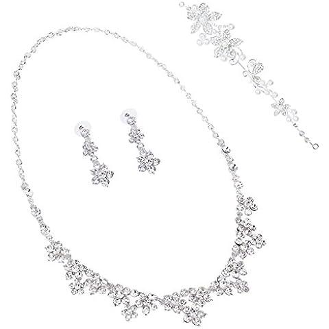 Nuziale Nuziale Dei Monili Della Collana Del Fiore Di Cristallo Orecchini Di Perla Incastonata Diadema Fascia