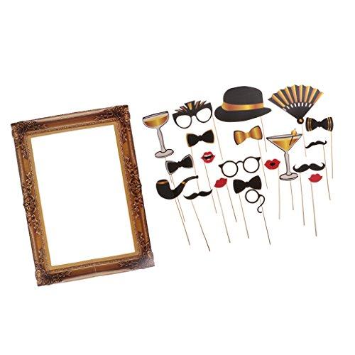 Sharplace Set Di Foto Props 20 Pezzi Cravatta Ventilatore Bicchiere Abbellimento Feste+ Cornice Stile Retro Per Festa Matrimonio