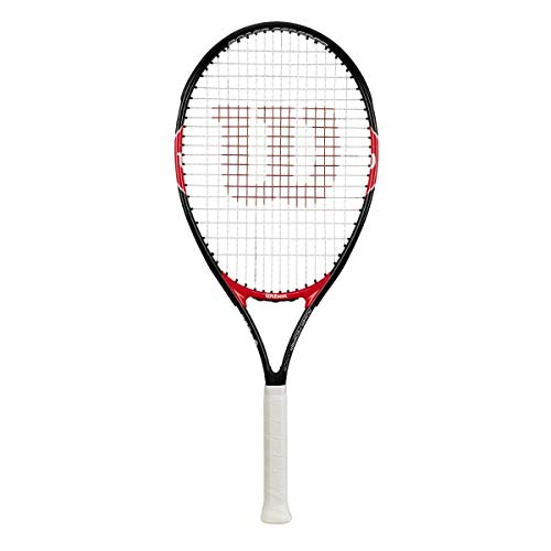 WILSON Roger Federer, Racchetta da Tennis per Ragazzi con Altezza Fino a 145 cm Unisex Bambini, Nero/Rosso, 26