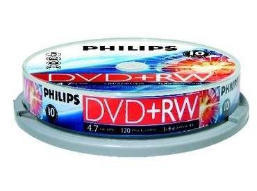 Philips DVD+RW 4.7Gb 4X Data/120Min, 10er Cake