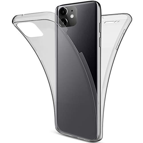 Herbests Kompatibel mit iPhone 11 Handyhülle 360 Grad Double Side Beidseitiger Cover Silikon Transparent Full Body Case Clear Doppel-Schutz Rundumschutz Durchsichtig Hülle,Schwarz